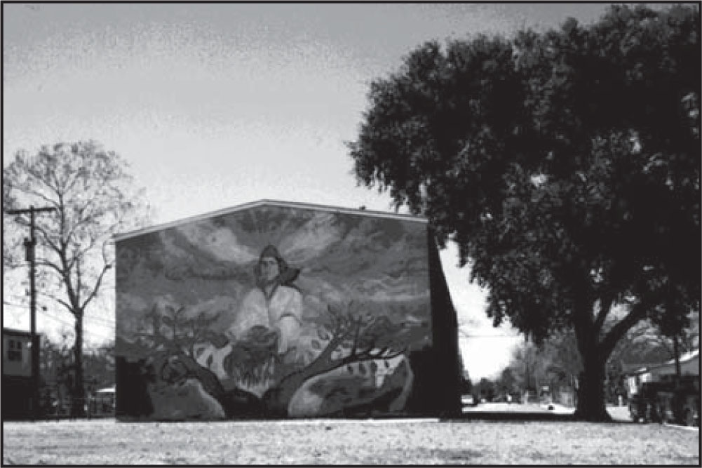 Photograph of a mural depicting ethnic pride.