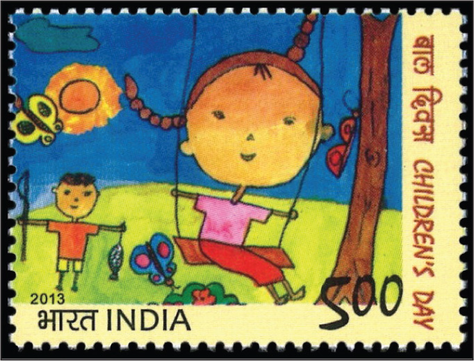 One of two 2013 stamps from India related to pediatrics; this one a child's painting in honor of Children's Day.